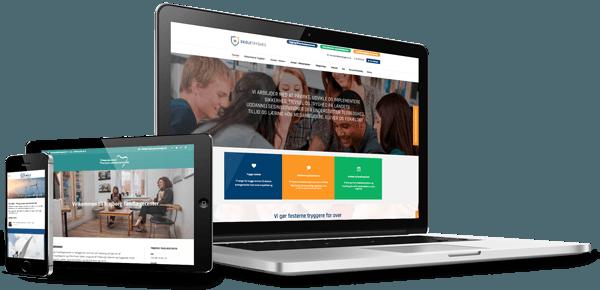 professionel hjemmeside design vist på 3 forskellige skærme