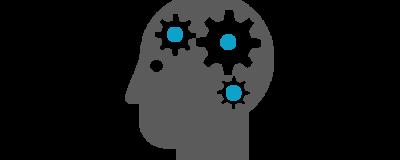 3 gear ikoner oppe i hjernen på en person