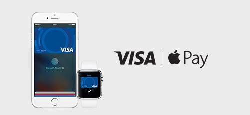 Apple pay og visa vist med 2 skærme