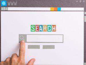 søgemaskine med finger
