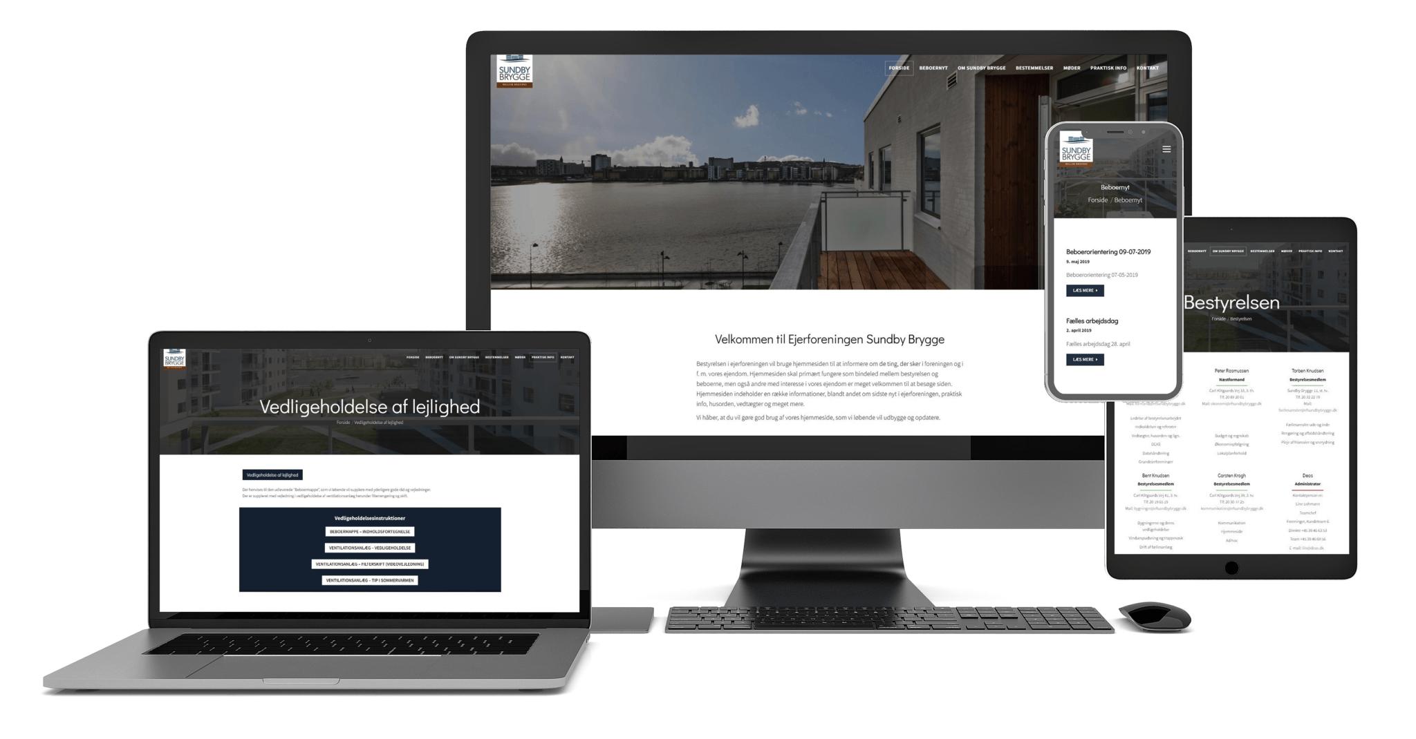 Sundby Brygge hjemmeside design på alle enheder